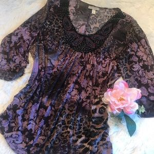 Dress Barn Beaded Blouse Excellent Condition - 1X